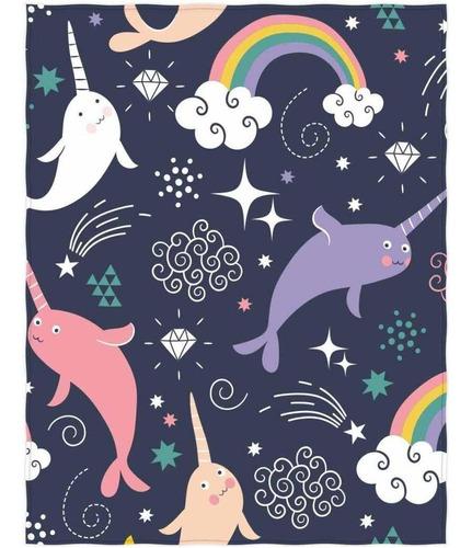 preciosa narwhals y rainbows pattern cama  sofá manta ...