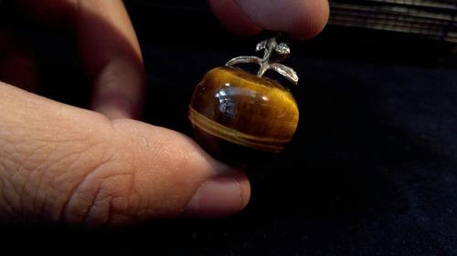preciosa piedra de ónix con plata de manzana