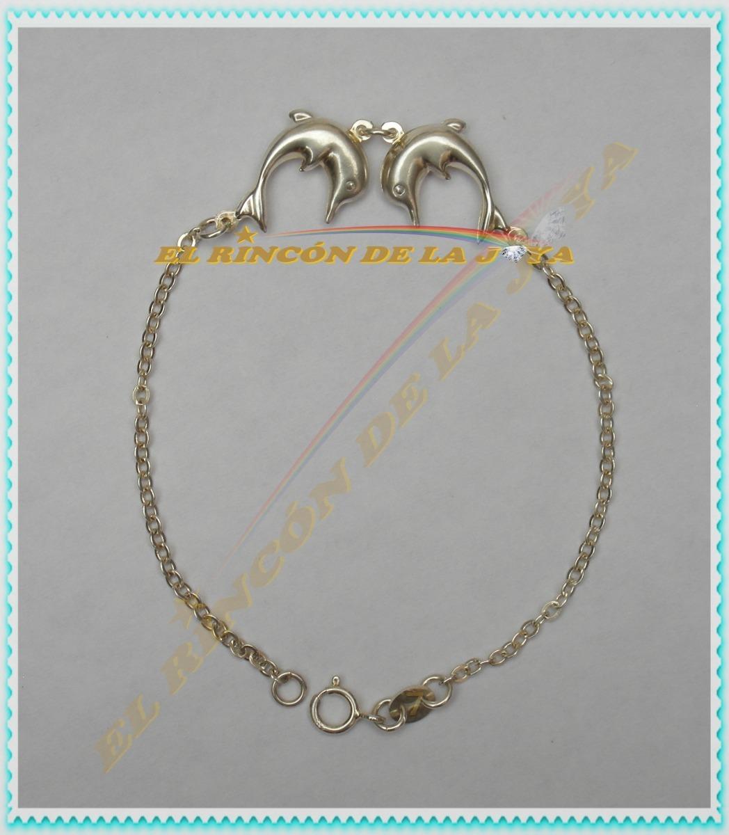 62817c3e42ed Preciosa Pulsera Con 2 Delfines Plata .925 Ps -   270.00 en Mercado ...