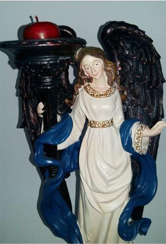 precioso angel de ceramica importado soporte vela envio