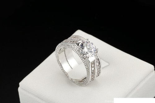 precioso anillo compromiso plata cristales austríacos,
