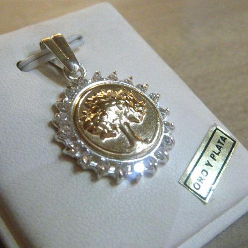 precioso arbol de la vida zirconias, oro y plata