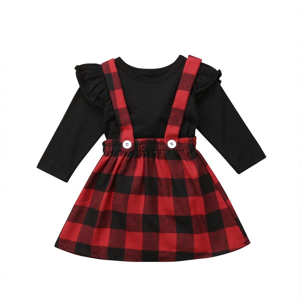 Precioso Conjunto Vestido Para Niña Cuadros Navidad -   450.00 en ... 405d05cd99bc