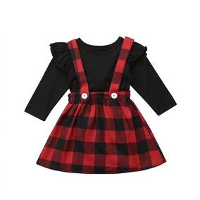 f2f942c83 Precioso Conjunto Vestido Para Niña Cuadros Navidad