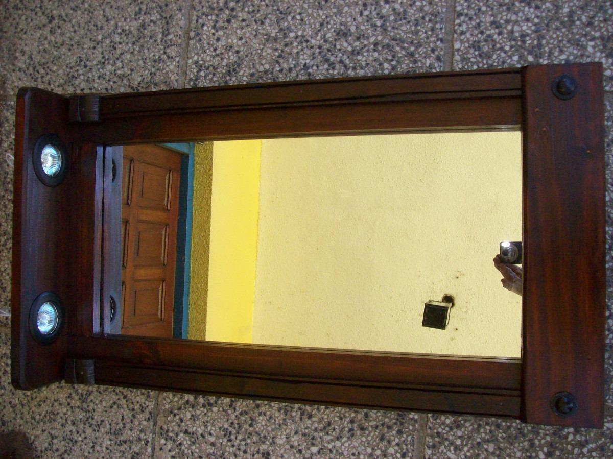 Precioso espejo marco madera con dicroica en for Espejos redondos de madera