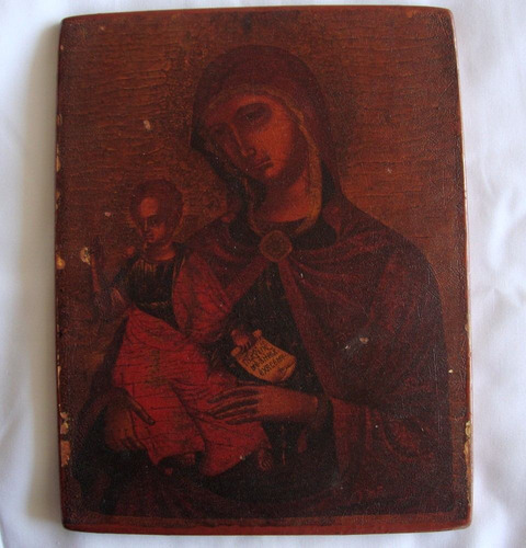 precioso icono de virgen con niño