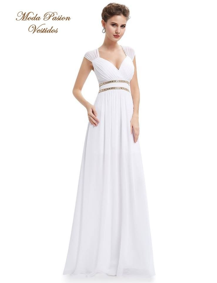 Precioso Vestido Blanco Novia De Gasa Griego Moda Pasión - $ 3.399 ...