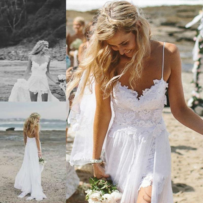 precioso vestido de novia encaje gasa tirantes s /espalda