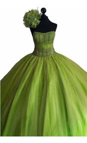 Precioso Vestido De Xv Años Verde Limon