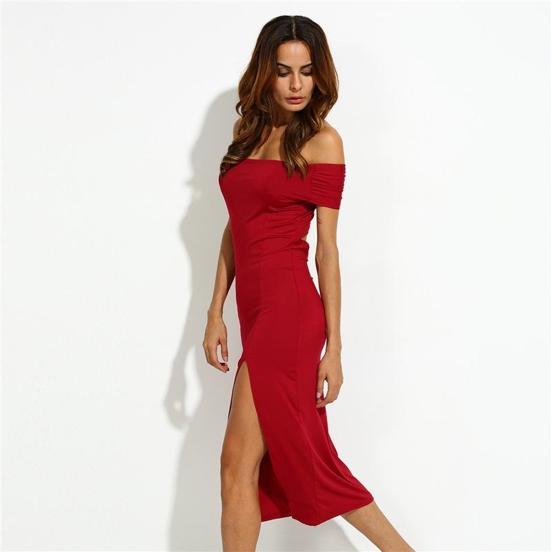 95c55ac8e6c2 Precioso Vestido Elegante De Noche Coctel Hombros Caidos