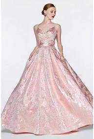 Precioso Vestido Palo De Rosa Destellos Metálicos Xv Años