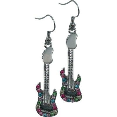preciosos aretes plateados de guitarra eléctrica