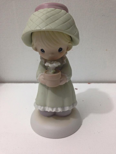 precious moments porcelana niña con maceta y flor blanca