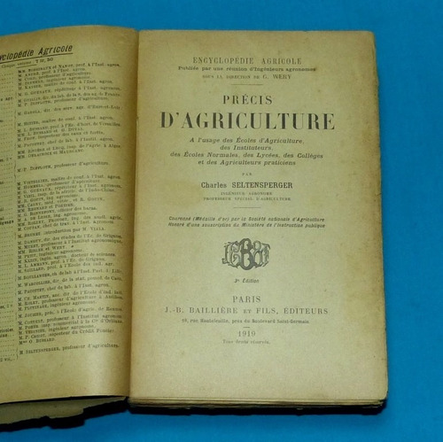 precis d agriculture seltensperger 1919 francés agricultura