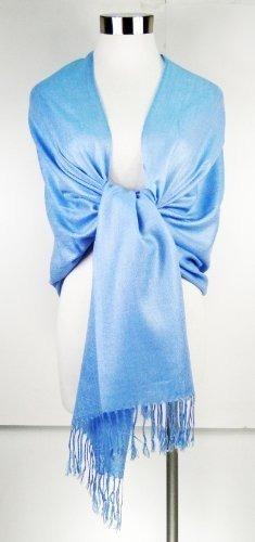 premium pashmina shawl wrap bufanda - azul cielo