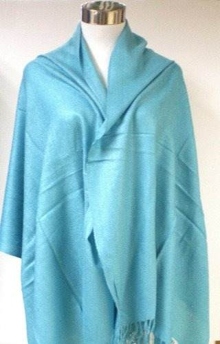 premium pashmina shawl wrap bufanda - azul turquesa