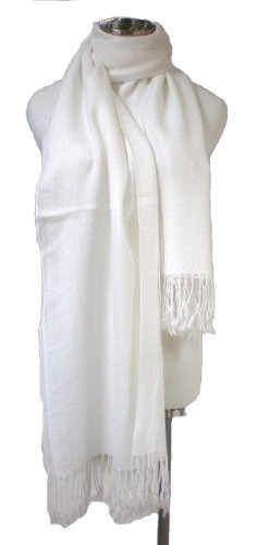 premium pashmina shawl wrap bufanda - blanco