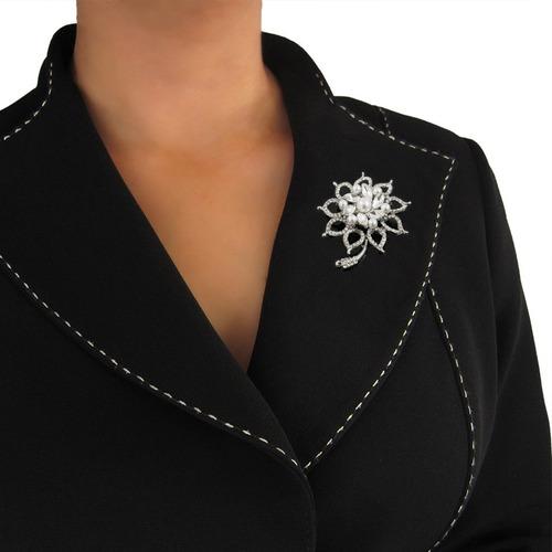 prendedor broche mujer elegante fiesta color plata regalo
