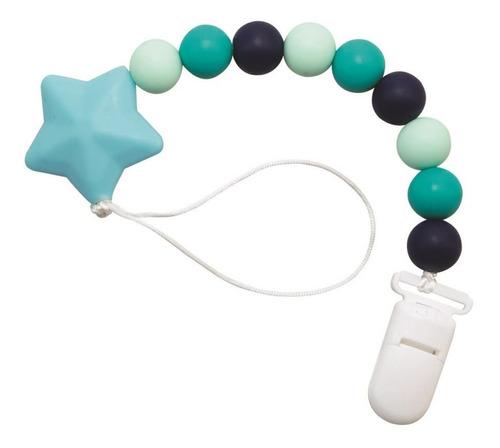 prendedor de chupeta de silicone azul - girotondo baby