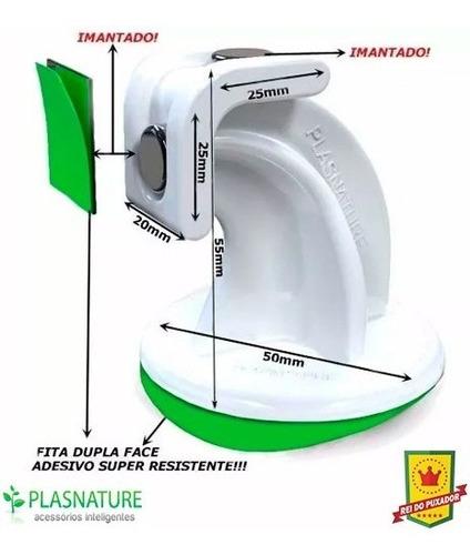 prendedor trava portas magnético com adesivo - branco - 5un
