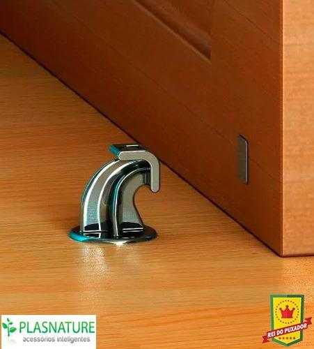 prendedor trava portas magnético com adesivo - cromado - 4un