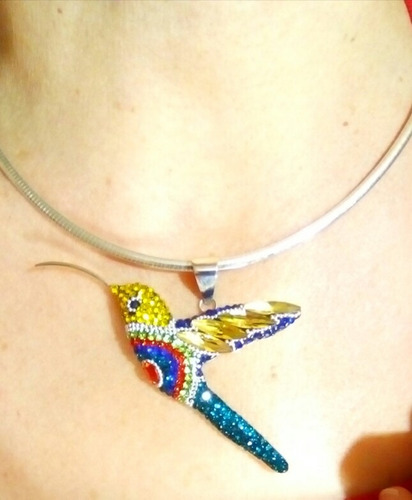 prendedor y dije colibri en plata fina .950 y swarovski !!
