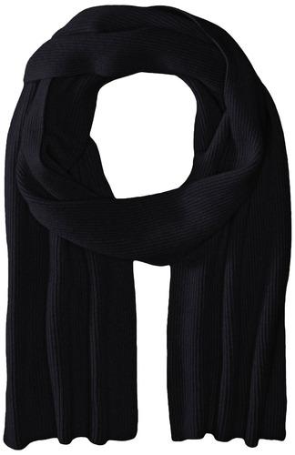 prenix cashmere half cardigan rib knit scarf, azul marino, t