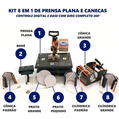 prensa 8x1 kit maquina de estampar camisetas chinelos caneca