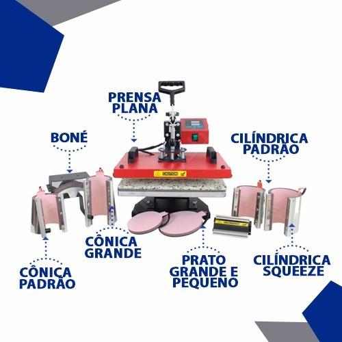 prensa 8x1 maquina de estampar camisetas chinelos canecas