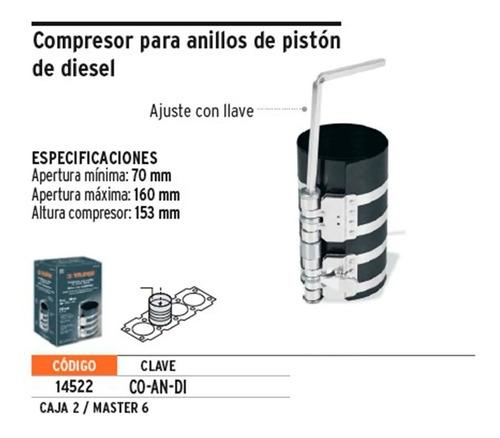 prensa compresor anillos aros piston truper 14522 70 160 mm