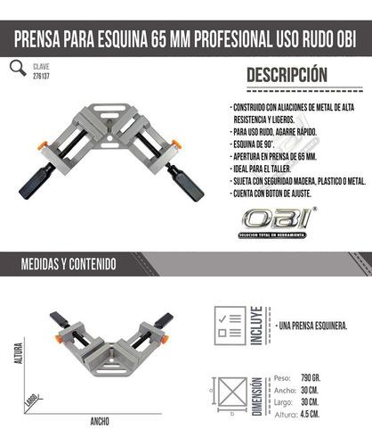 prensa esquinera uso rudo 65mm herramienta carpinteria marco