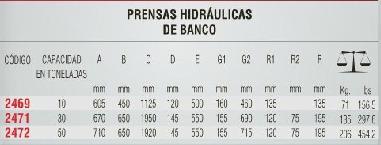prensa hidraulica de banco 10 ton urrea oferta 2469