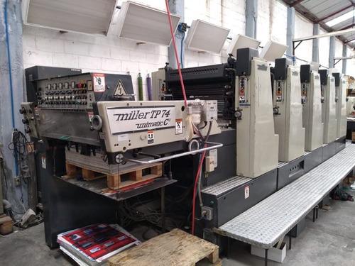 prensa offset miller unimatic tp 74 de 5 colores trabajando
