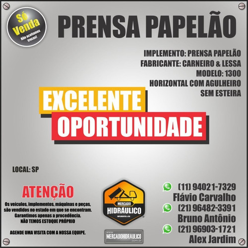 prensa papelão 1300 carneiro & lessa - horizontal agulheiro