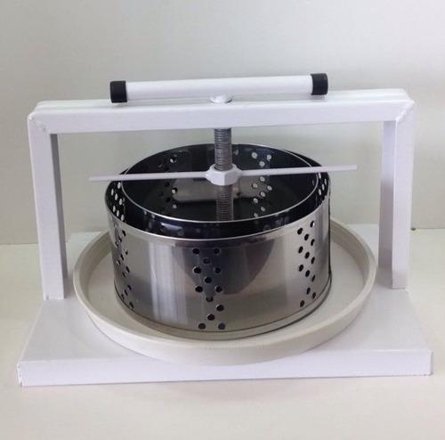 prensa para fazer queijos kit 2 forma inox 1 bandeja +brinde