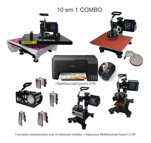 prensa termica 10 em 1 a3 a4 + impressora epson l3150 110v