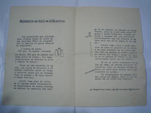 preparacion dulce de leche 1955 recetario margarita m videla
