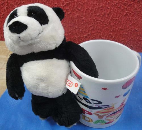 presente caneca + urso panda pelúcia parabéns aniversário