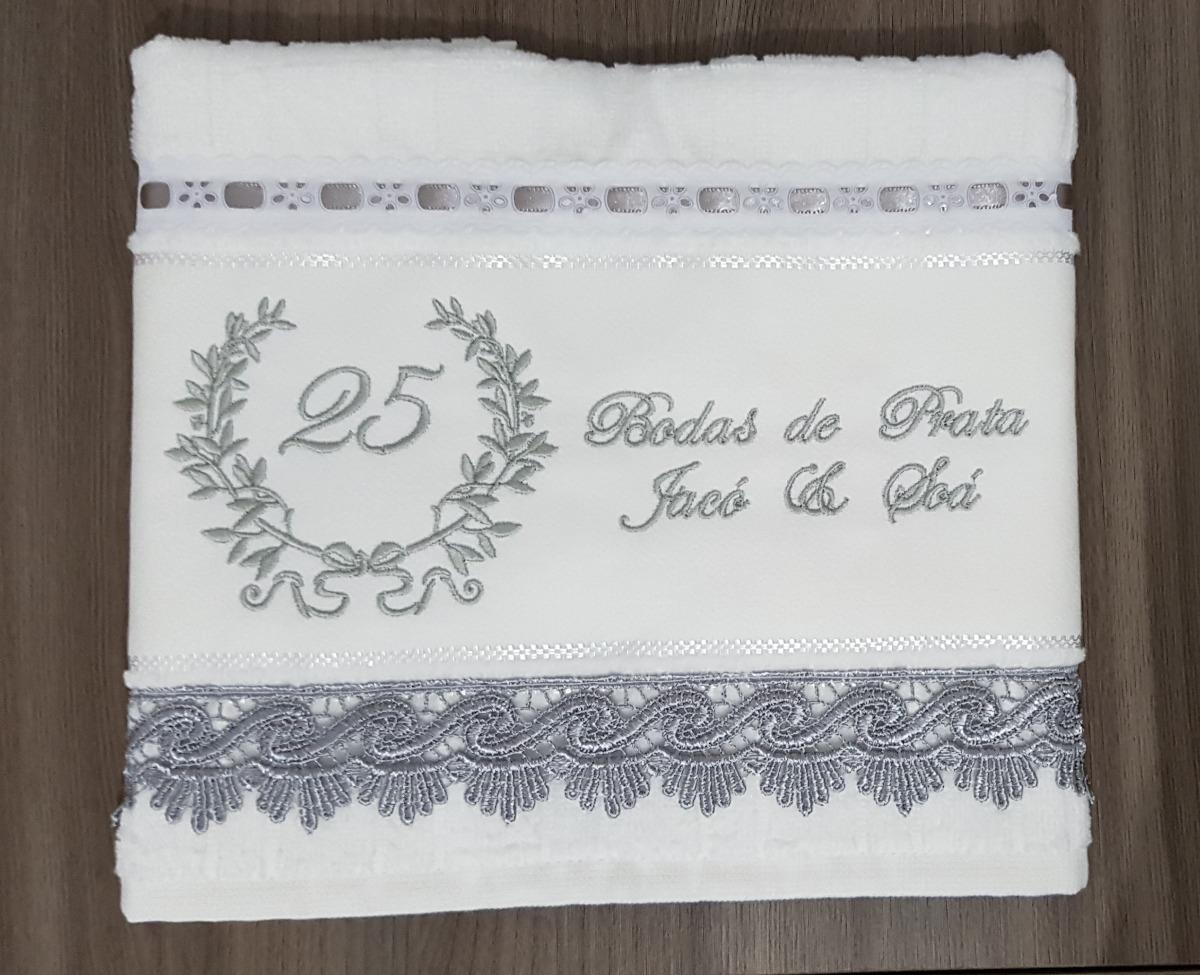 Presente De Casamento Bodas De Prata Toalha De Rosto Bordada R 68