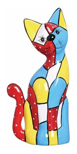 presente gato colorido em cerâmica g para decoração