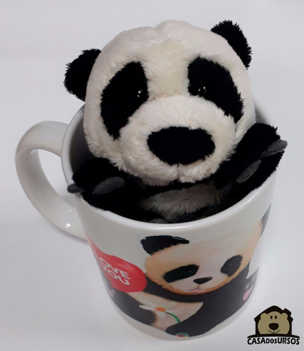 presente para namorada ursinho panda urso nici 15cm + caneca