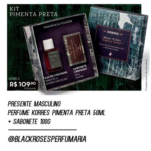 presente perfume korres pimenta preta 50ml + sabonete 100g