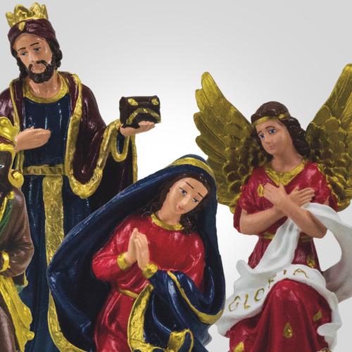 presépio de 12 peças em látex pintadas a mão - inquebrável