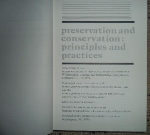 preservacion y conservacion principios y practicas en ingles