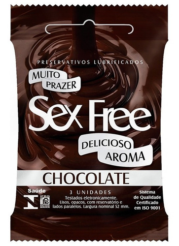 preservativo lubrificado sex free chocolate com 3un  sex009