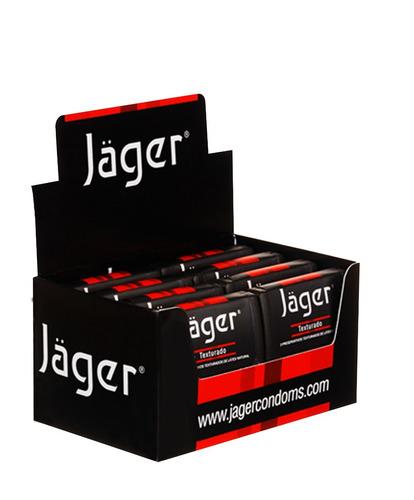 preservativos jäger - texturado - 8 estuches con 3 un.
