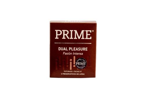 preservativos prime 2x1 extra lubricante y dual pleasure x12
