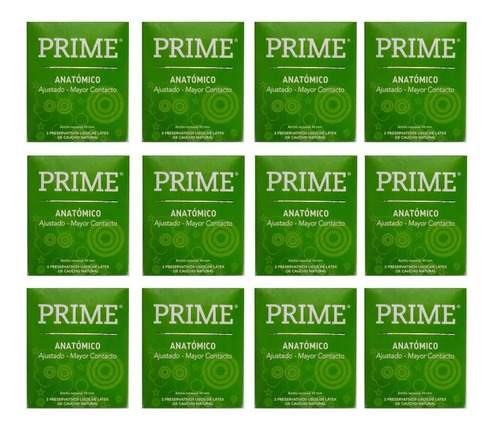 preservativos prime anatomico 12 cajitas x 3 menor ancho