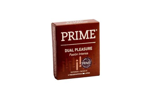 preservativos prime extra lubricado y dual pleasure x144