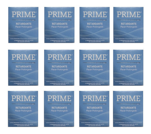 preservativos prime retardante 12 cajitas x 3